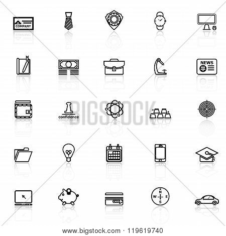 Businessman Item Line Icons With Reflect On White Background