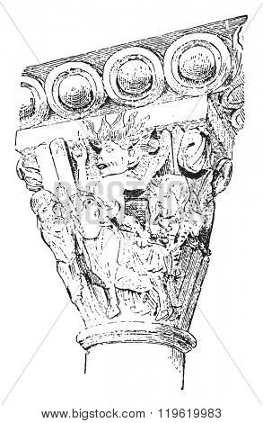 Capital (XI century), Church of Vezelay, vintage engraved illustration. Dictionary of words and things - Larive and Fleury - 1895.