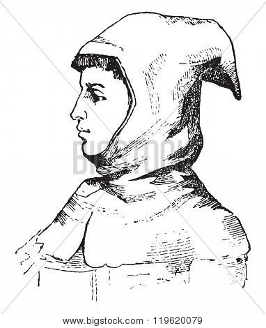 Hood fourteenth century, vintage engraved illustration. Dictionary of words and things - Larive and Fleury - 1895.