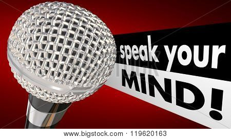 Speak Your Mind Microphone Words Animation Discuss Opinions
