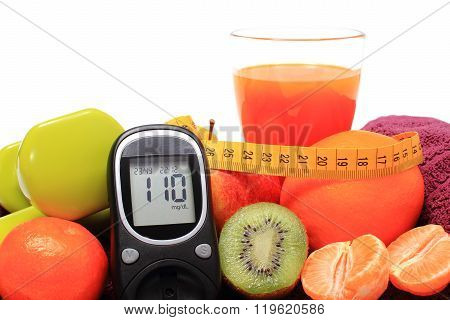 Glucose Meter, Fruits, Tape Measure, Juice And Dumbbells