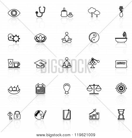 Meditation Line Icons With Reflect On White Background