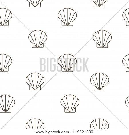 Shellfish Seamless Pattern. Vector Background. Vector Illustration.