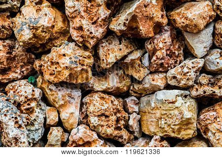 Stone Wall With A Porous Surface