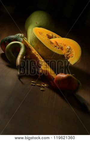 Fall Squash On Old Woods
