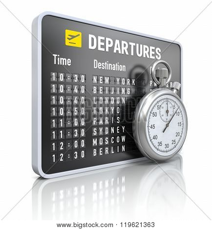 Departure board with stop watch