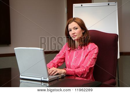 Businesswoman working on a computer in a conference room