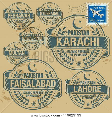 Grunge Rubber Stamp Set With Names Of Pakistan Cities