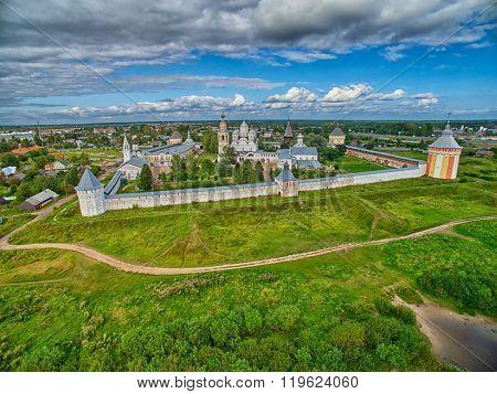 Sunset over Spaso-Prilutsky monastery in Vologda Region