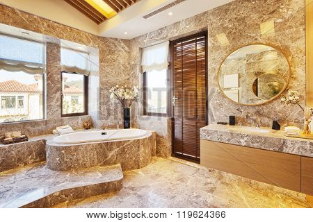 design and sanitary facility in modern bathroom