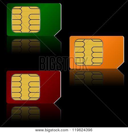 Set vector SIM cards.