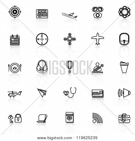 Air Transport Related Line Icons With Reflect On White