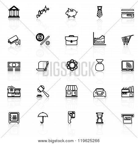 Banking And Financial Line Icons With Reflect On White