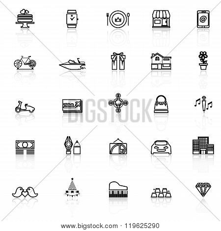 Birthday Gift Line Icons With Reflect On White