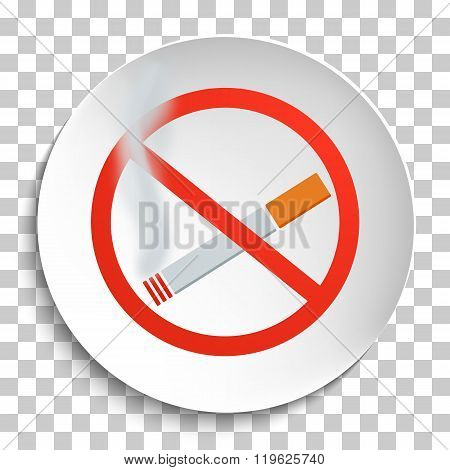 No Smoking Sign on White Round Plate. No Smoking forbidden symbol. No Smoking Vector Illustration on transparent background