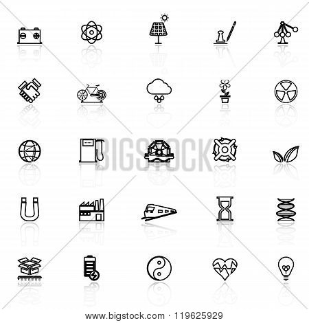 Renewable Energy Line Icons With Reflect On White