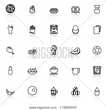 Easy Meal Line Icons With Reflect On White