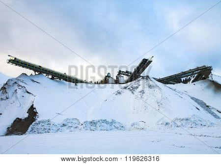 Rock-crushing Plant In Winter Day