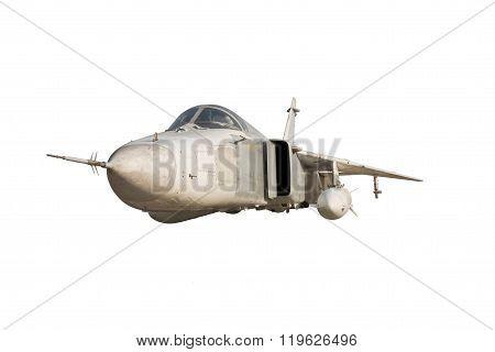 Military jet bomber Su-24 Fencer flying a white background.