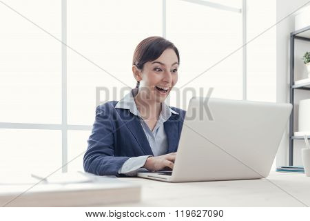 Cheerful Businesswoman In Her Office