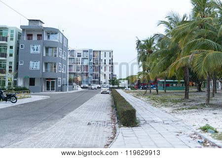 Male, Maldives - February 19, 2016: A row of houses in male maldives