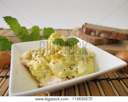 Bread spread with corn and lemon balm