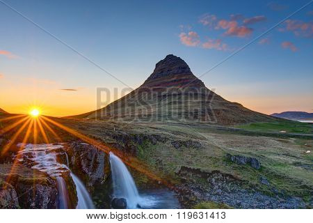 Mount Kirkjufell before sunset