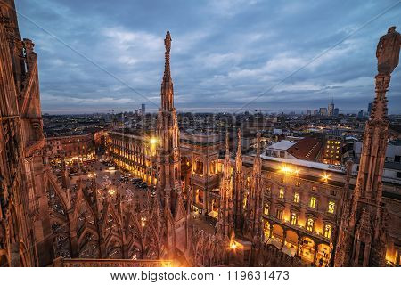 Milan, Italy: gothic roof of world famous Cathedral