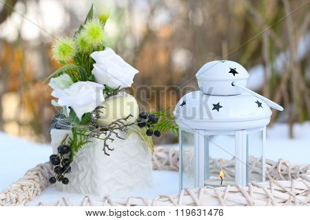 Winter decoration in white