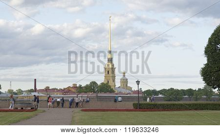 RUSSIA; SAINT-PETERSBURG - JULY 5 - View of the Peter and Paul Fortress with Vasilevsky Island on July 5; 2015 in St. Petersbur