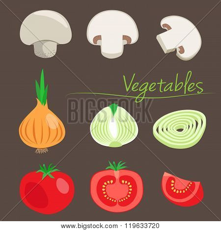 Decorative Vegetables. Vector Champignon. Vector Onion. Vector Tomato. Vegetables On A Background. Cutting Stage. Vector Illustration. Fresh Salad. Vegetables In Season. Vegetables Cutter.
