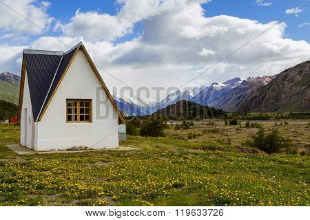 lonely house in mountains, el chalten, patagonia, argentina