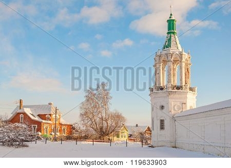 rural landscape with a bell tower