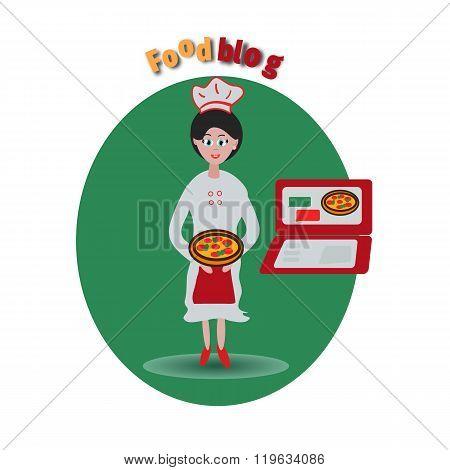Cook blog vector concept icon or Logo Template,banner