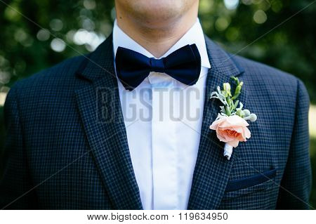 The Groom In A Blue Suit With A Buttonhole And A Butterfly
