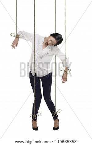 Asian Business Woman Have String Attached To Her Body