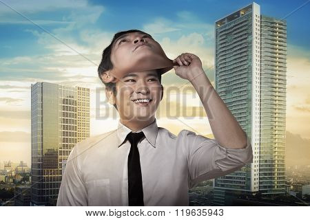 Asian Business Man Remove His Other Face Mask