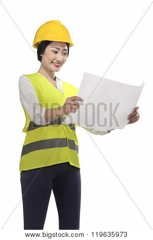 Asian Woman Wear Had Hat And Safety Vest Looking Blueprint