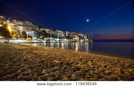 Village of Skala Marion by night, Thassos island, Greece