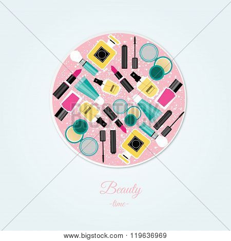 Vector Flat Design Of Make Up Tools. Vector Flat Design Of Make Up Collection.Make Up Elem