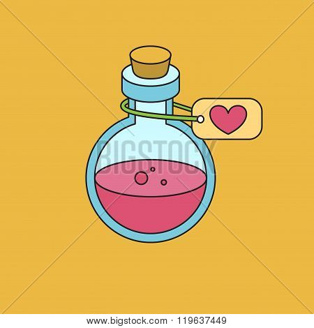 Bottle With Magic Elixir. Icon For Game