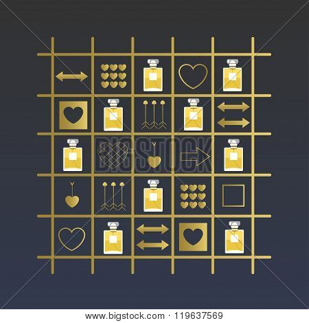 Vector Perfume Decorative Elements.perfume Bottles And Golden Decorative Elements With Hearts And Ar