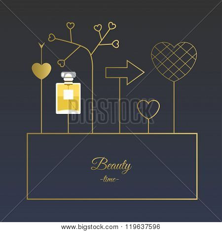 Fragrance With Golden Decorative Elements. Vector Illustration For Holiday Cards And Shopping Catalo