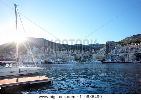 Panoramic View Of Yachts In Monte Carlo