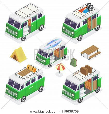 Isometric Camper Set With Different Vans And Camping Equipment