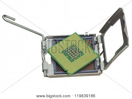 The computer the processor on a white background
