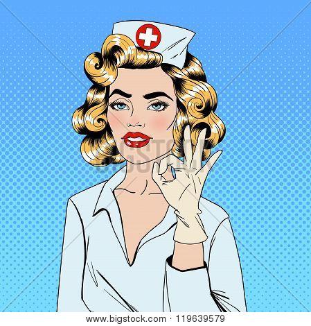 Pretty Nurse In Pop Art Style Gesturing Okay