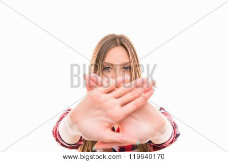 Close Up Photo Of Strict Girl With Prohibited Gesture, Focus On Hands