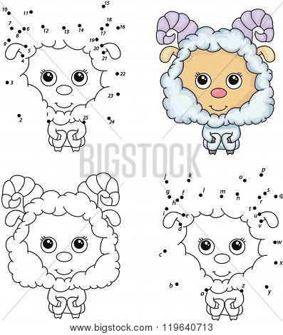 Cartoon Fluffy Sheep. Coloring Book And Dot To Dot Game For Kids