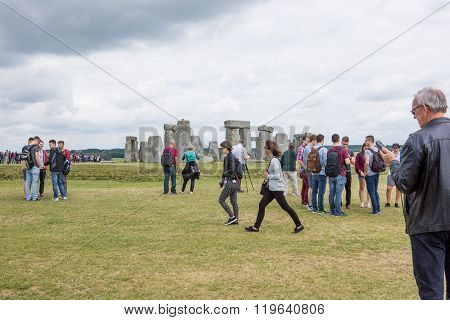 Tourists visiting Stonehenge
